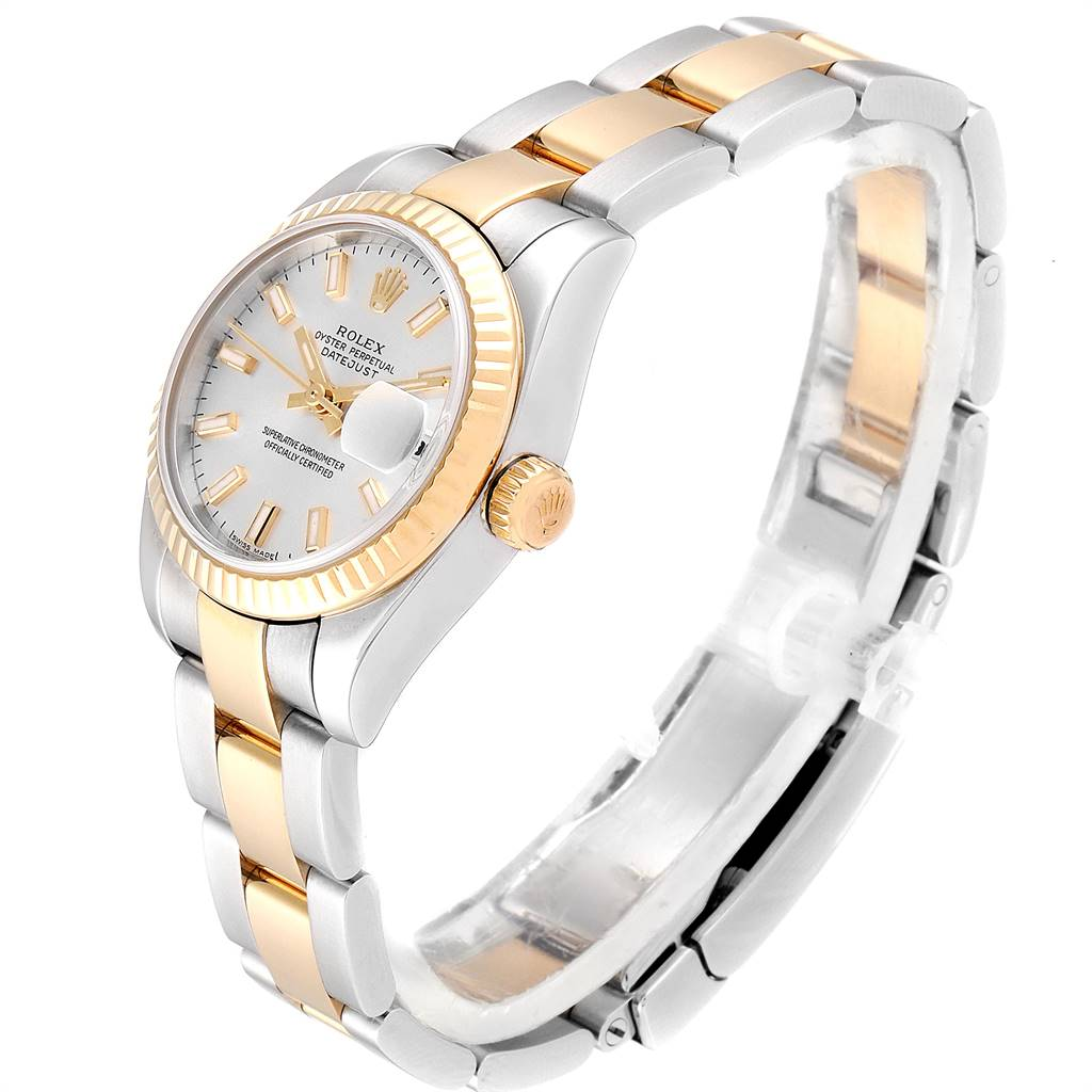 Rolex Datejust 26 Steel Yellow Gold Silver Dial Ladies Watch 179173 SwissWatchExpo