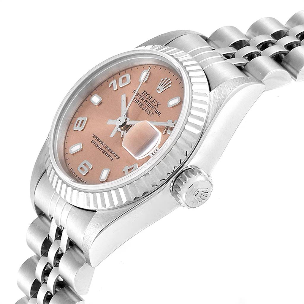25427 Rolex Datejust 26 Steel White Gold Salmon Dial Ladies Watch 79174 SwissWatchExpo