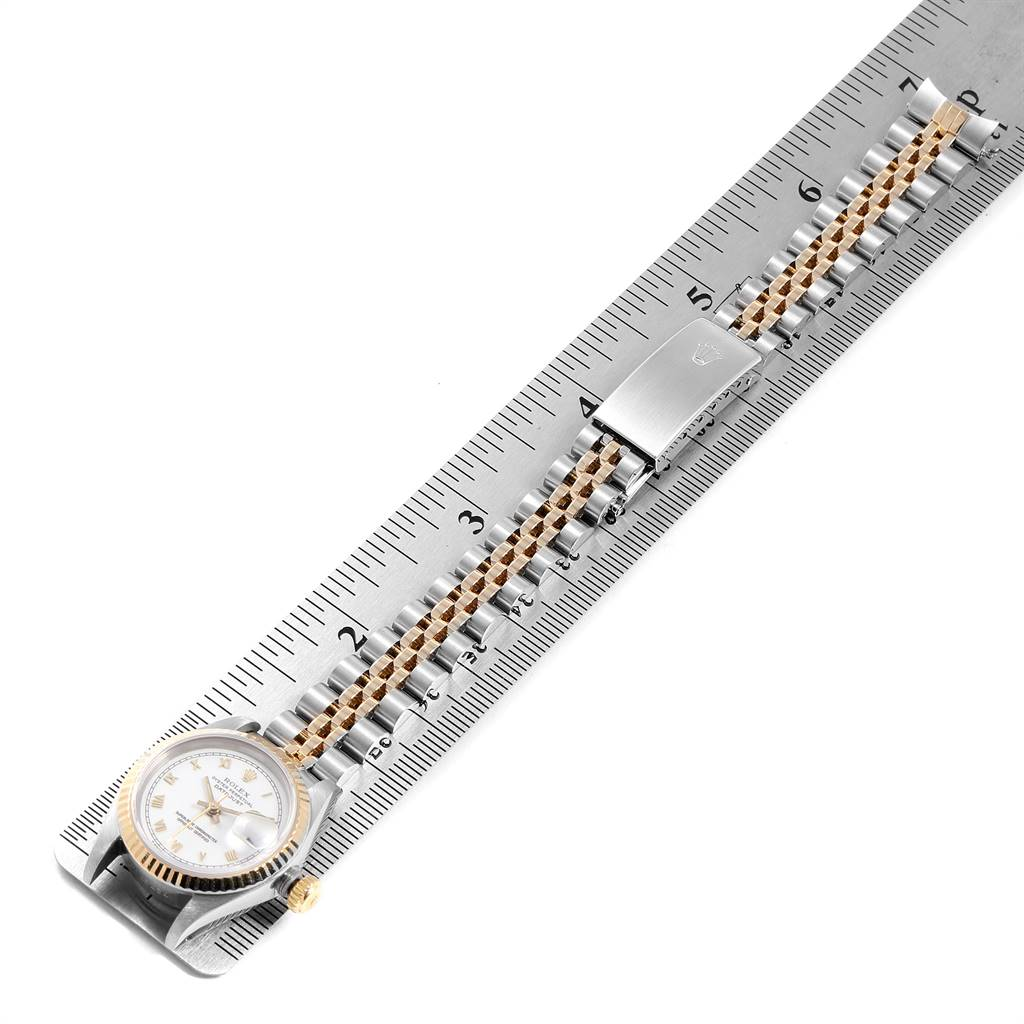 9883X Rolex Datejust Steel Yellow Gold White Dial Ladies Watch 69173 SwissWatchExpo