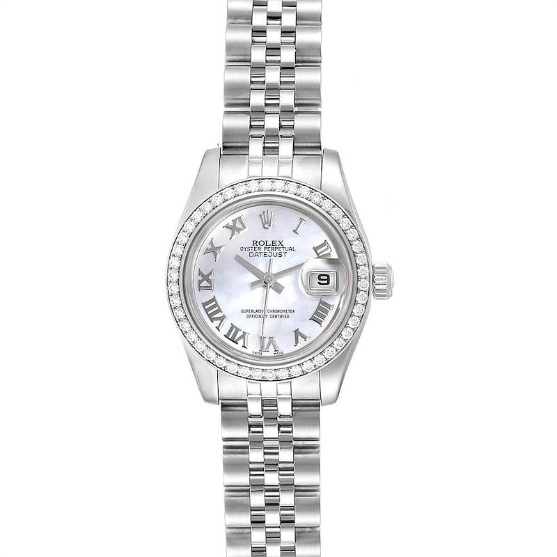 Rolex Datejust 26 Steel White Gold MOP Diamond Ladies Watch 179384 SwissWatchExpo