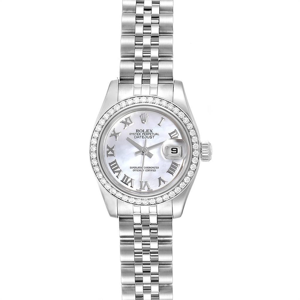 Rolex Datejust 26 Steel White Gold MOP Diamond Ladies Watch 179384