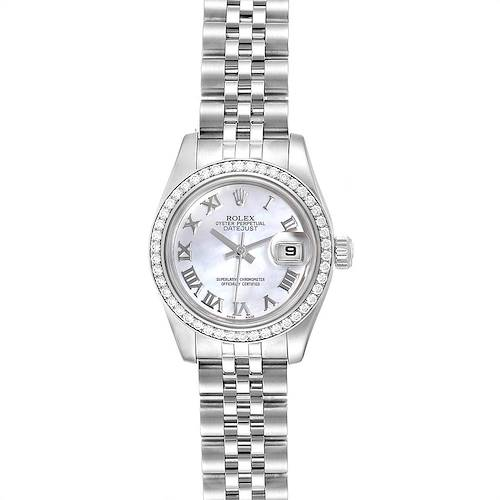 Rolex Datejust 26 Steel White Gold MOP Diamond Ladies Watch 179384