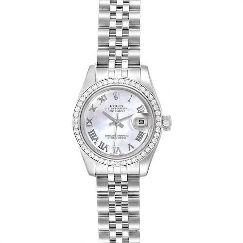 Photo of Rolex Datejust 26 Steel White Gold MOP Diamond Ladies Watch 179384