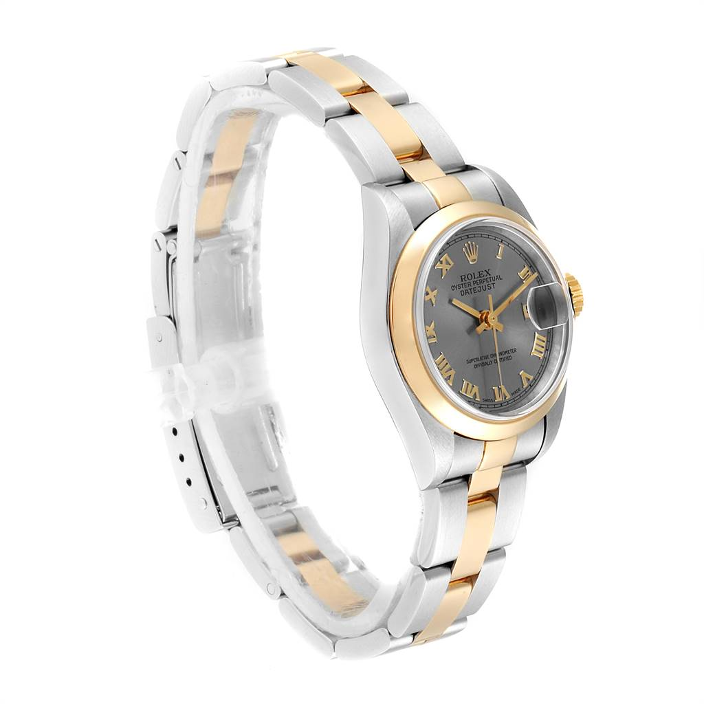 Rolex Datejust Steel Yellow Gold Slate Dial Ladies Watch 69163 SwissWatchExpo