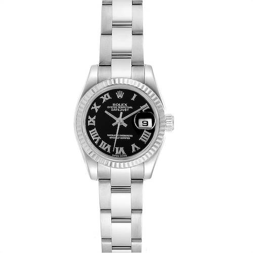 Photo of Rolex Datejust Steel White Gold Black Dial Ladies Watch 179174 Box Papers