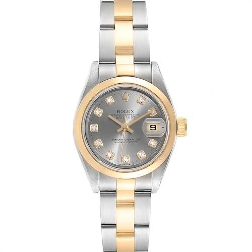 Rolex Datejus Steel Yellow Gold Diamond Ladies Watch 69163 Box
