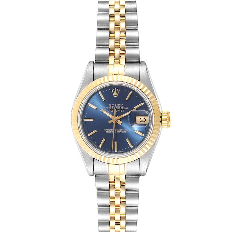 Rolex Datejust 26 Steel Yellow Gold Blue Dial Ladies Watch 69173 SwissWatchExpo