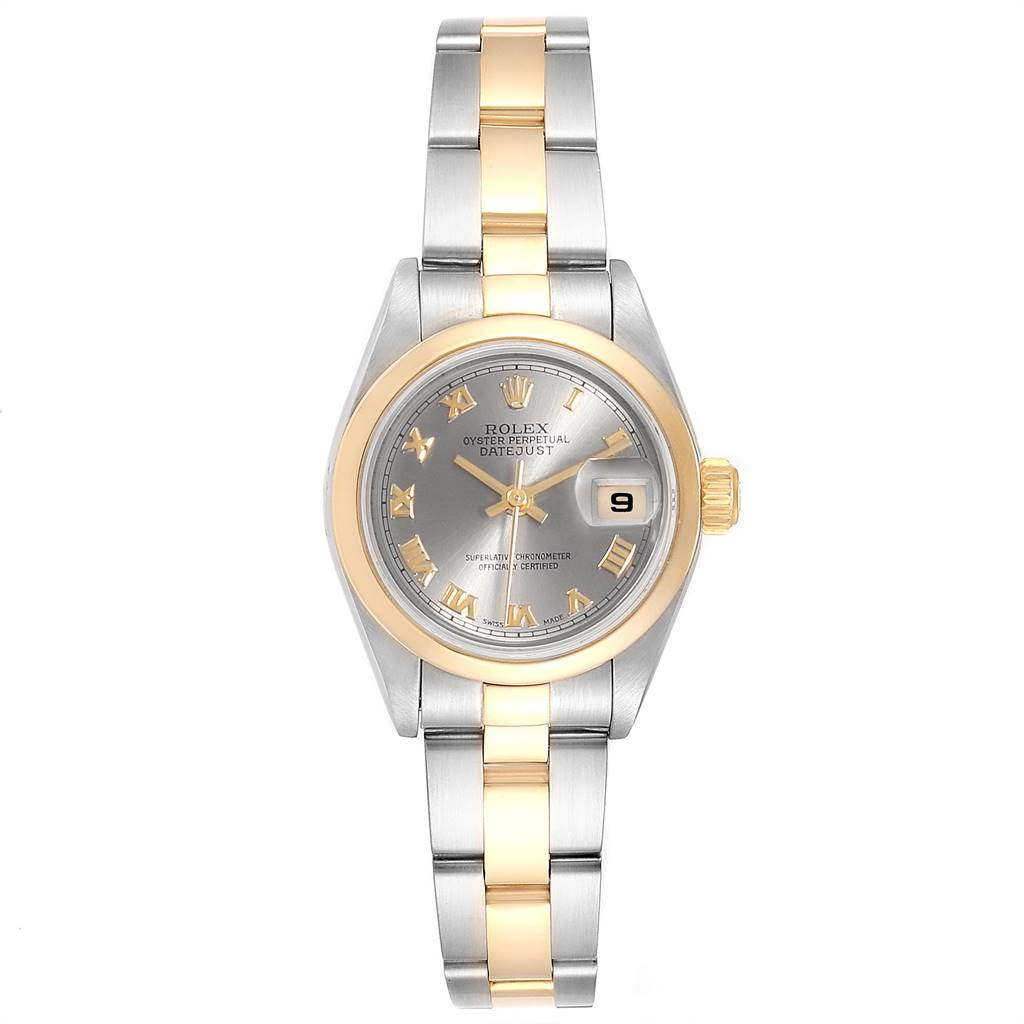Rolex Datejust Steel Yellow Gold Slate Dial Ladies Watch 79163 Box Papers SwissWatchExpo