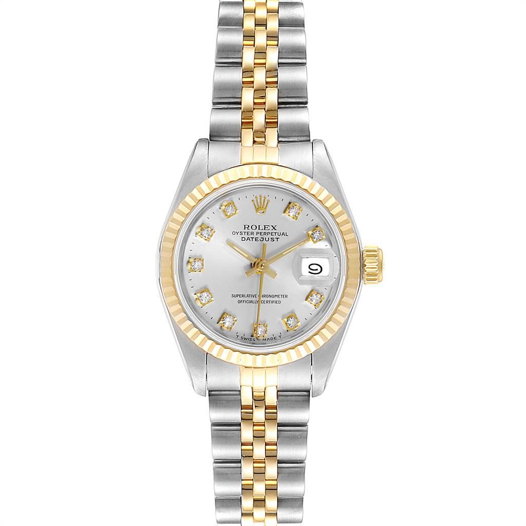 Rolex Datejust 26mm Steel Yellow Gold Diamond Dial Ladies Watch 69173