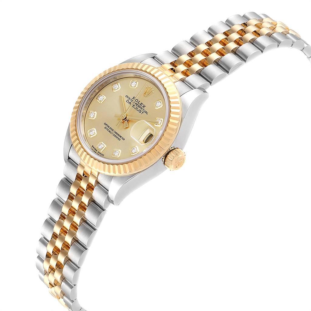 Rolex Datejust 28 Steel Yellow Gold Diamond Ladies Watch 279173 SwissWatchExpo