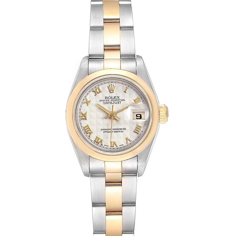 Rolex Datejust Steel Yellow Gold Pyramid Dial Ladies Watch 69163 SwissWatchExpo