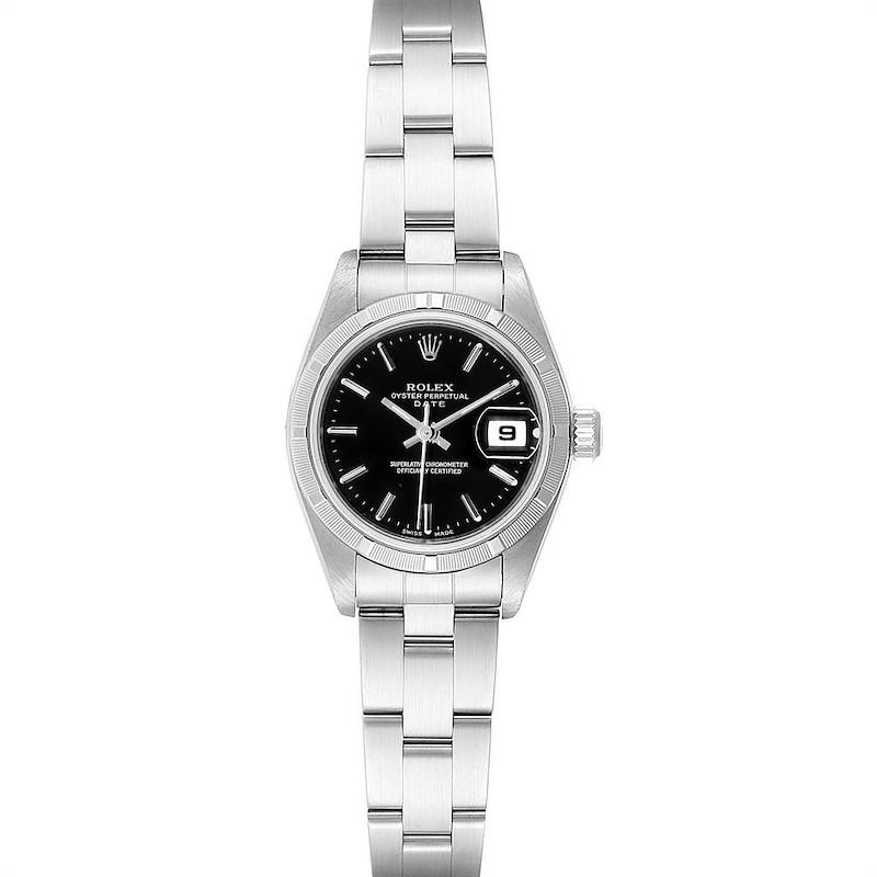 Rolex Date 26 Stainless Steel Black Baton Dial Ladies Watch 79190 SwissWatchExpo