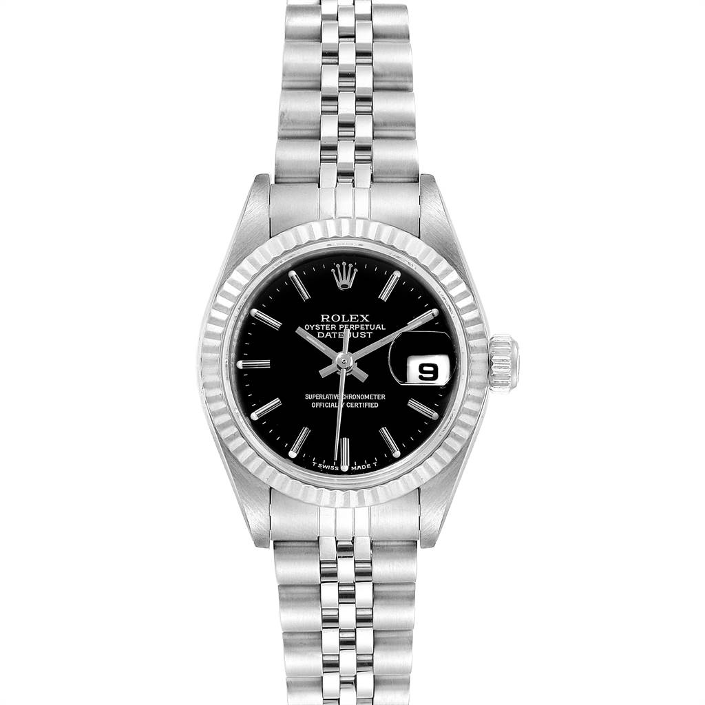 Rolex Datejust 26 Steel White Gold Black Dial Ladies Watch 79174 SwissWatchExpo