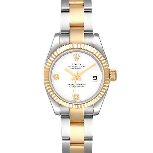Photo of Rolex Datejust Yellow Gold Steel White Onyx Diamond Dial Watch 179173