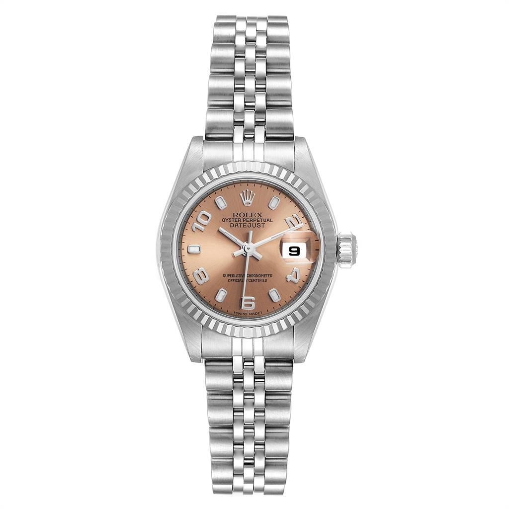 Rolex Datejust 26 Steel White Gold Salmon Dial Ladies Watch 79174 SwissWatchExpo