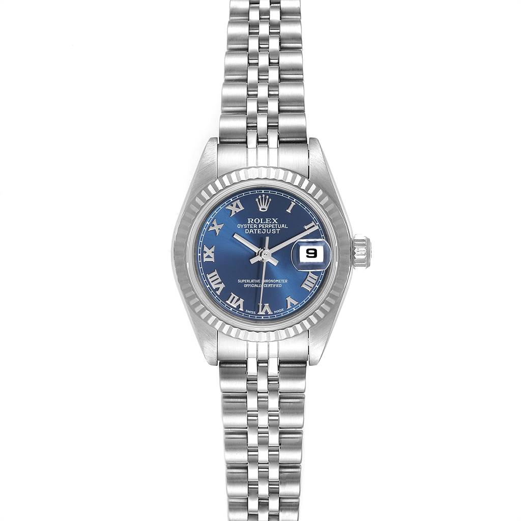 Rolex Datejust Steel White Gold Blue Roman Dial Ladies Watch 79174