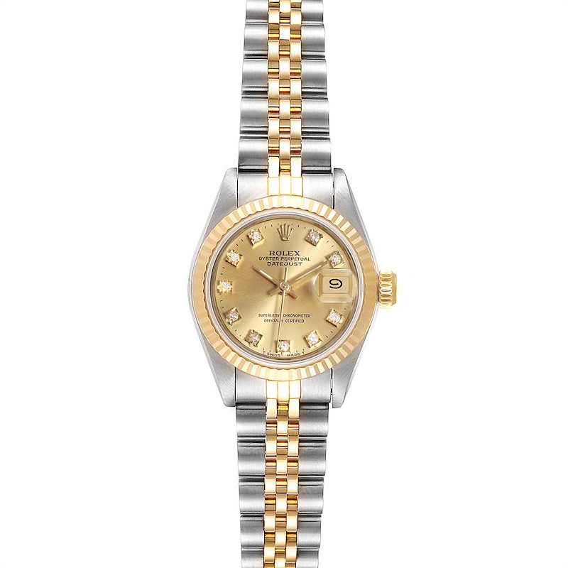 Rolex Datejust 26 Steel Yellow Gold Diamond Dial Ladies Watch 69173 SwissWatchExpo
