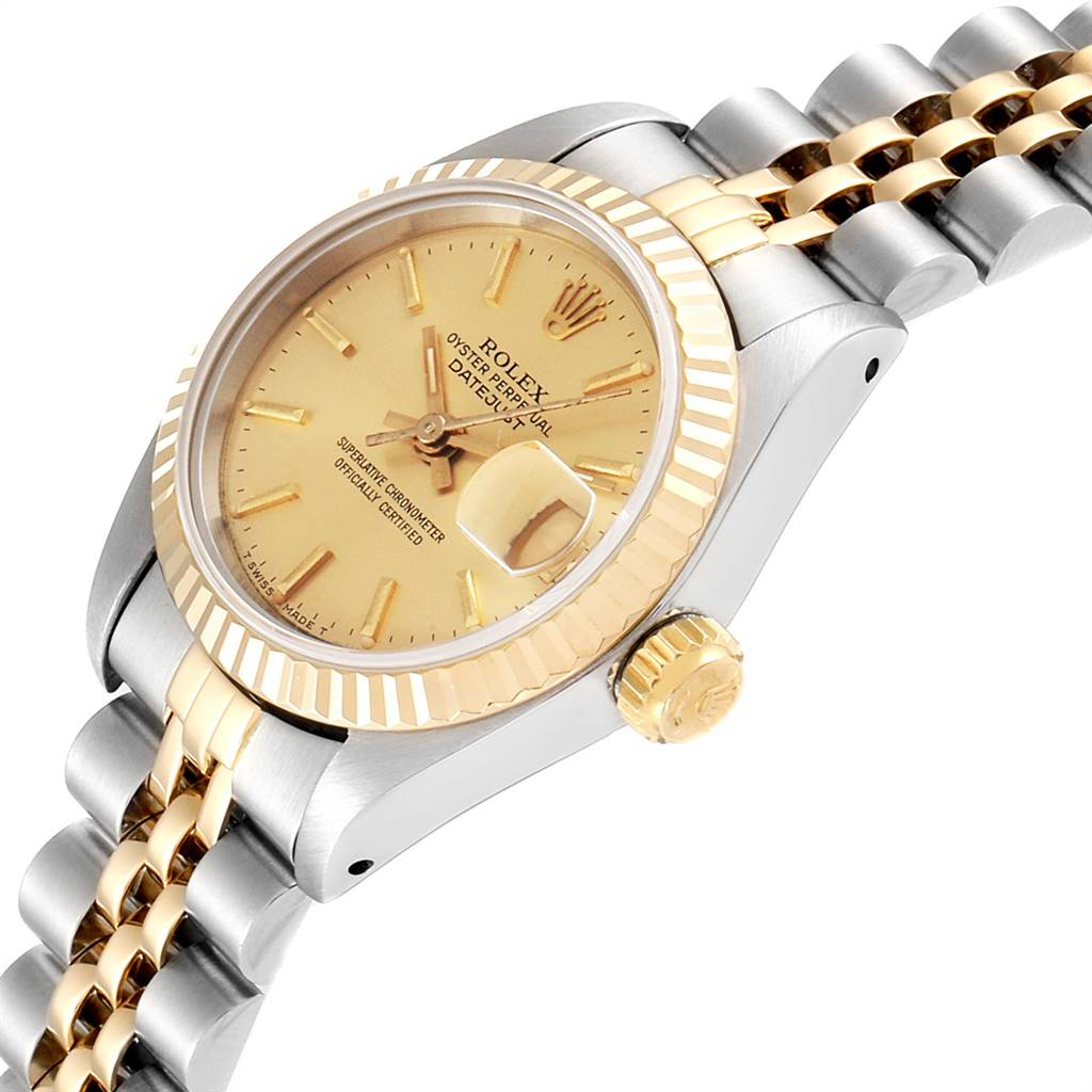 Rolex Datejust 26mm Steel Yellow Fluted Bezel Ladies Watch 69173 SwissWatchExpo