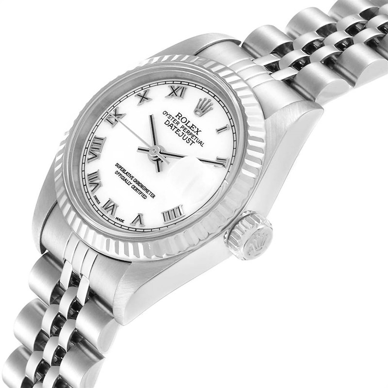 Rolex Datejust 26 Steel White Gold Roman Dial Ladies Watch 79174 SwissWatchExpo