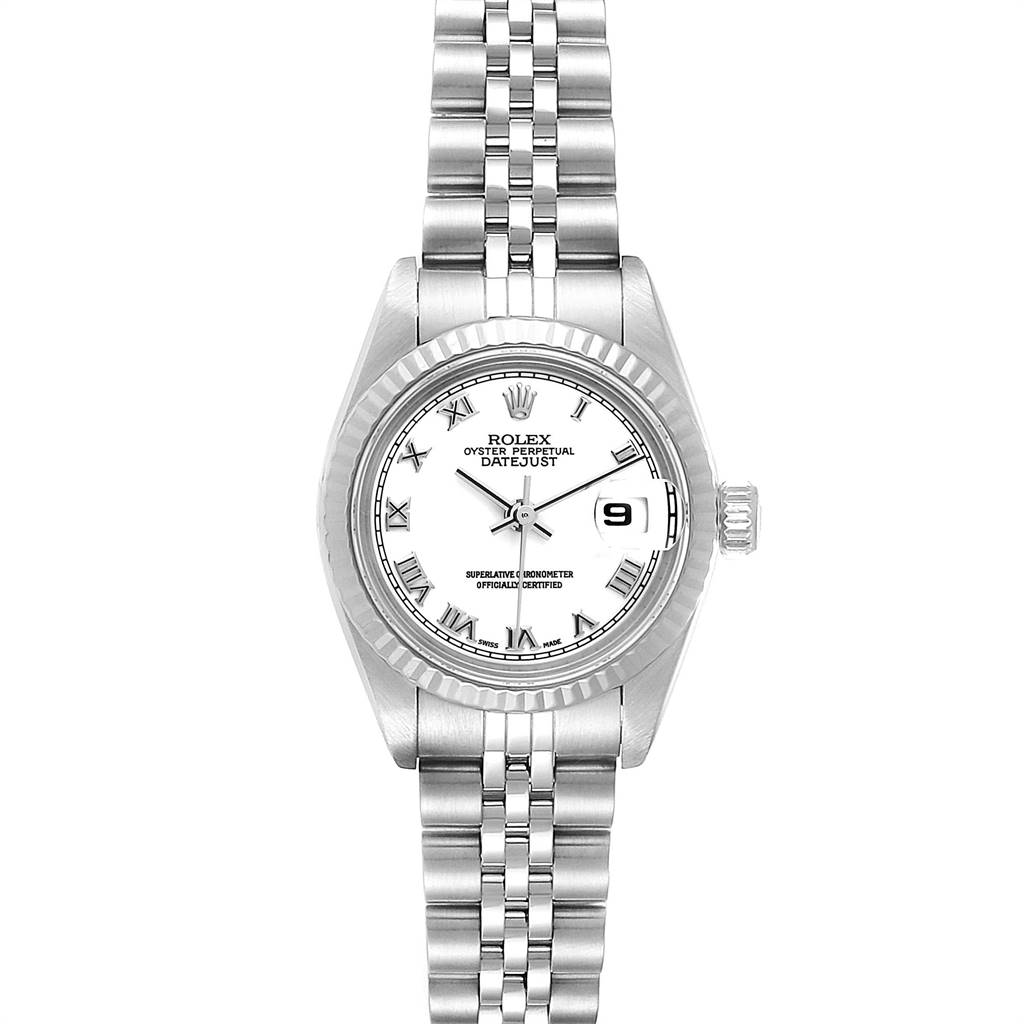 Photo of Rolex Datejust 26 Steel White Gold Roman Dial Ladies Watch 79174