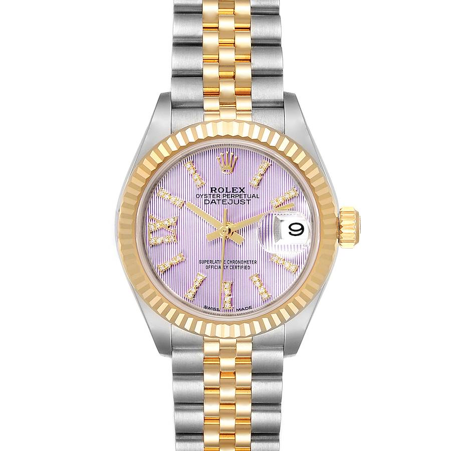 Rolex Datejust 28 Steel Yellow Gold Lilac Diamond Dial Ladies Watch 279173 Box Card SwissWatchExpo