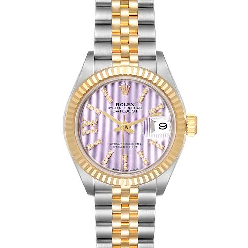 Rolex Datejust 28 Steel Yellow Gold Lilac Diamond Dial Ladies Watch 279173 Box Card