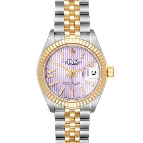 Rolex Datejust 28 Steel Yellow Gold Lilac Diamond Dial Ladies Watch 279173 Box Card