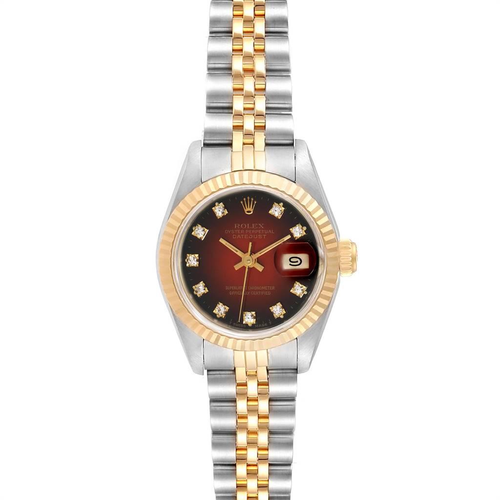 Rolex Datejust Steel Yellow Gold Vignette Diamond Dial Ladies Watch 69173 SwissWatchExpo