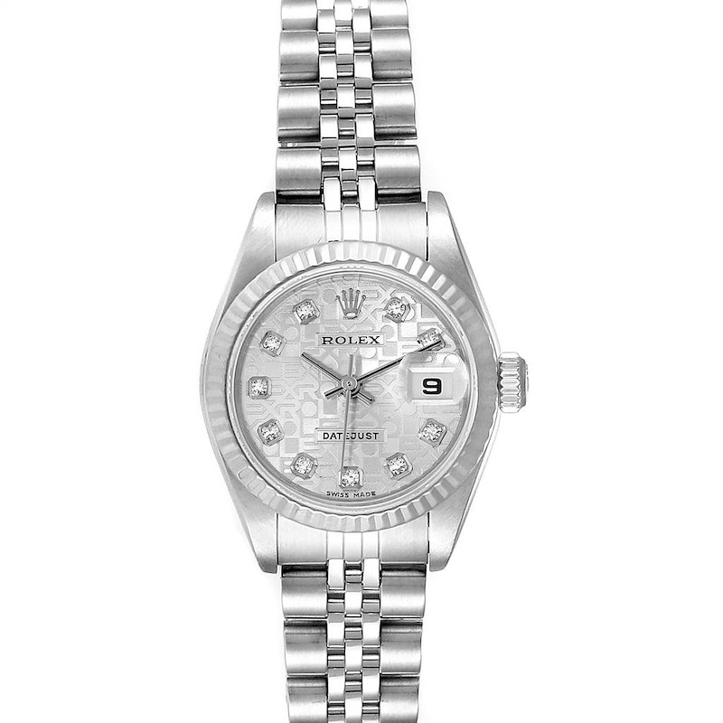 Rolex Datejust 26 Steel White Gold Silver Diamond Dial Ladies Watch 79174 SwissWatchExpo