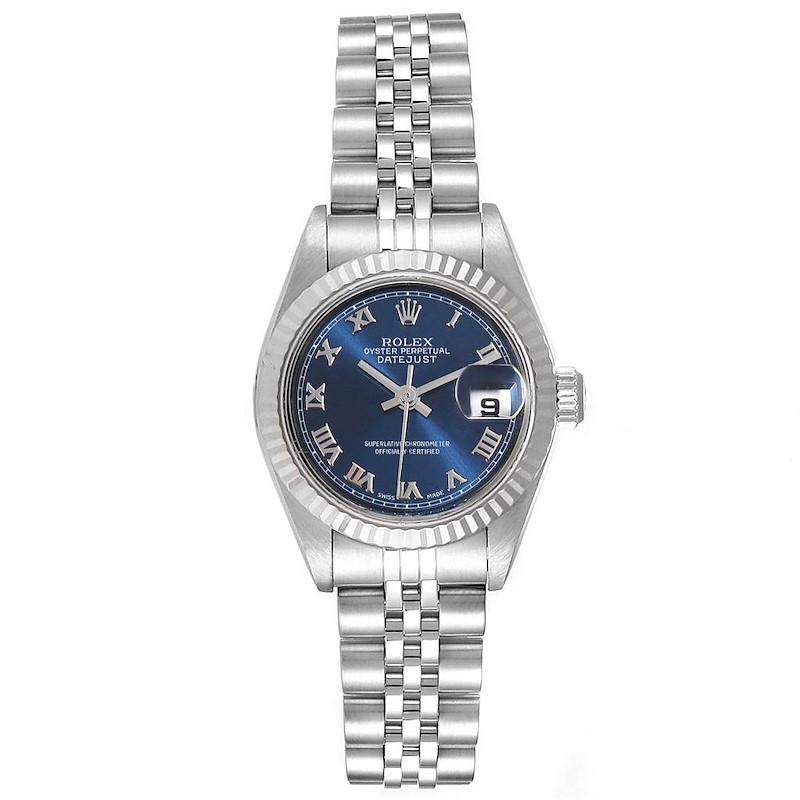Rolex Datejust 26 Steel White Gold Blue Dial Ladies Watch 79174 SwissWatchExpo