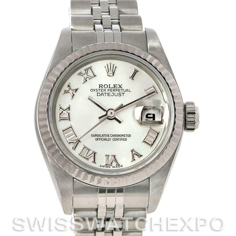 3039 Rolex Datejust Ladies Steel 18k White Gold Watch 79174 SwissWatchExpo