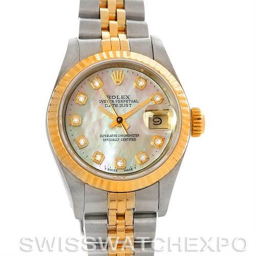 Photo of Rolex Datejust Ladies Steel 18k Yellow Gold Mother of Pearl Diamond Dial 69173
