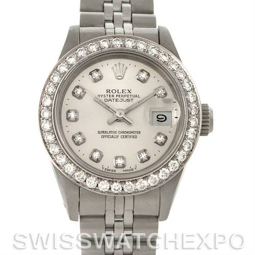 Photo of Rolex Datejust Ladies Stainless Steel 18k White Gold Diamond Dial Watch 69174