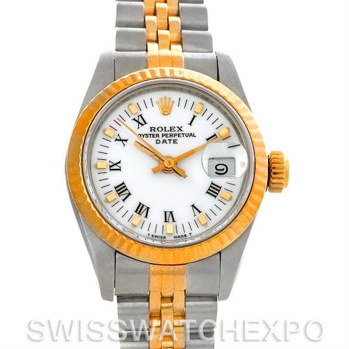 Photo of Rolex Datejust Ladies Steel 18k Yellow Gold White Dial 69173