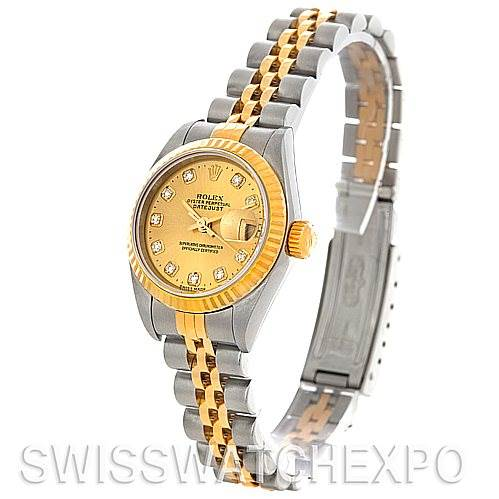 4646 Rolex Datejust Ladies Steel 18k Yellow Gold Watch 79173 SwissWatchExpo