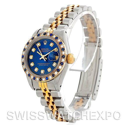 Rolex Datejus Ladies Steel 18k Yellow Gold Diamond Sapphire 69173 Watch SwissWatchExpo