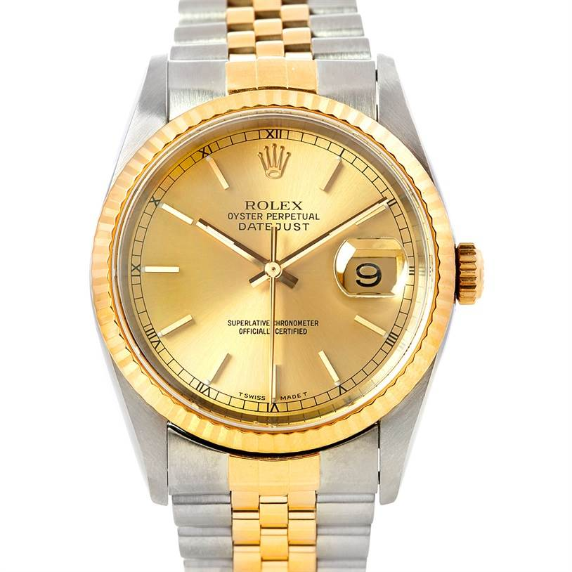 5430 Rolex Datejust Steel 18k Yellow Gold Watch 16233 SwissWatchExpo