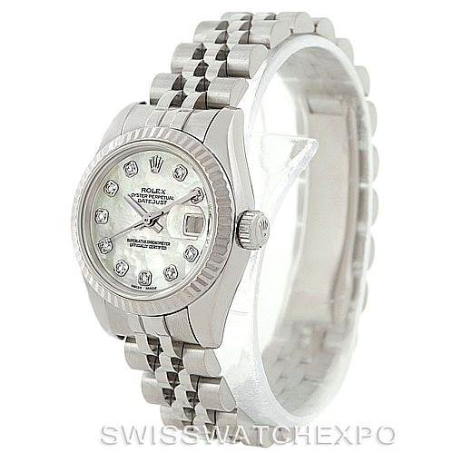 7496 Rolex Datejust Ladies Steel 18K White Gold Diamond Watch 179174  SwissWatchExpo