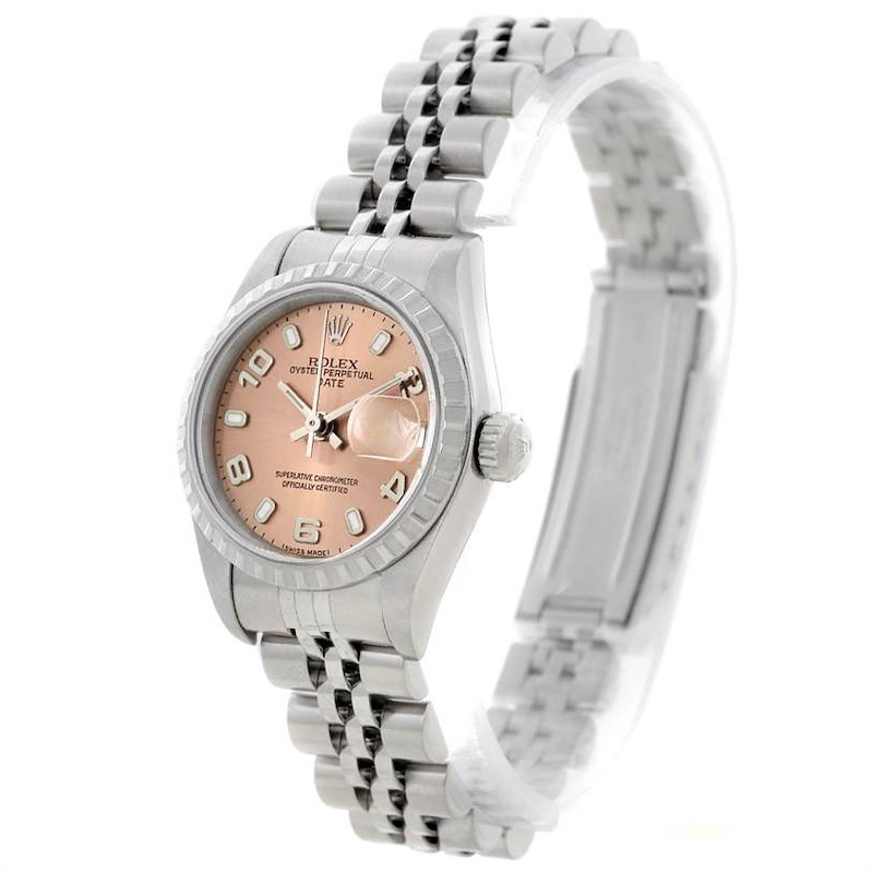 Rolex Oyster Perpetual Date Pink Dial Ladies Steel Watch 79240 SwissWatchExpo