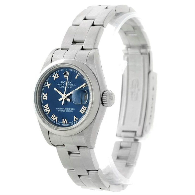 Rolex Oyster Perpetual Datejust Blue Dial Ladies Steel Watch 69160 SwissWatchExpo