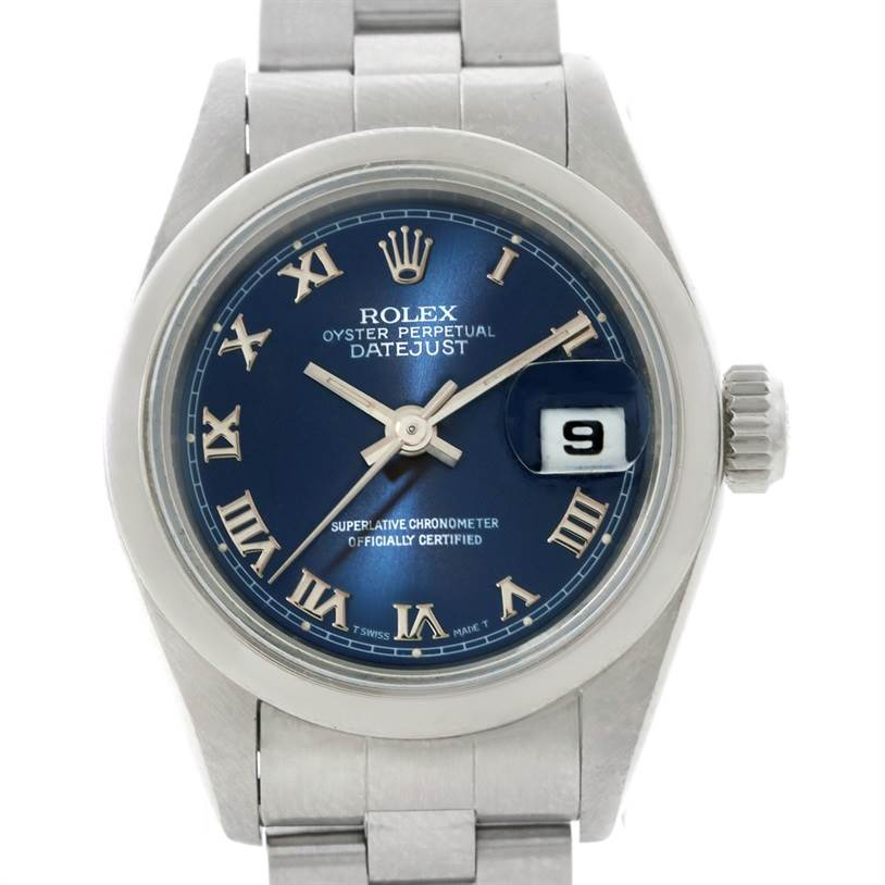 8517 Rolex Oyster Perpetual Datejust Blue Dial Ladies Steel Watch 69160 SwissWatchExpo