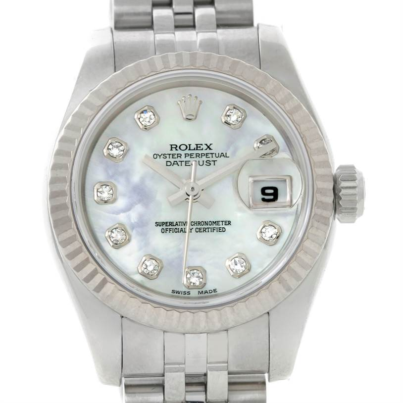 8633 Rolex Datejust Ladies Steel 18K White Gold Diamond Watch 179174 SwissWatchExpo
