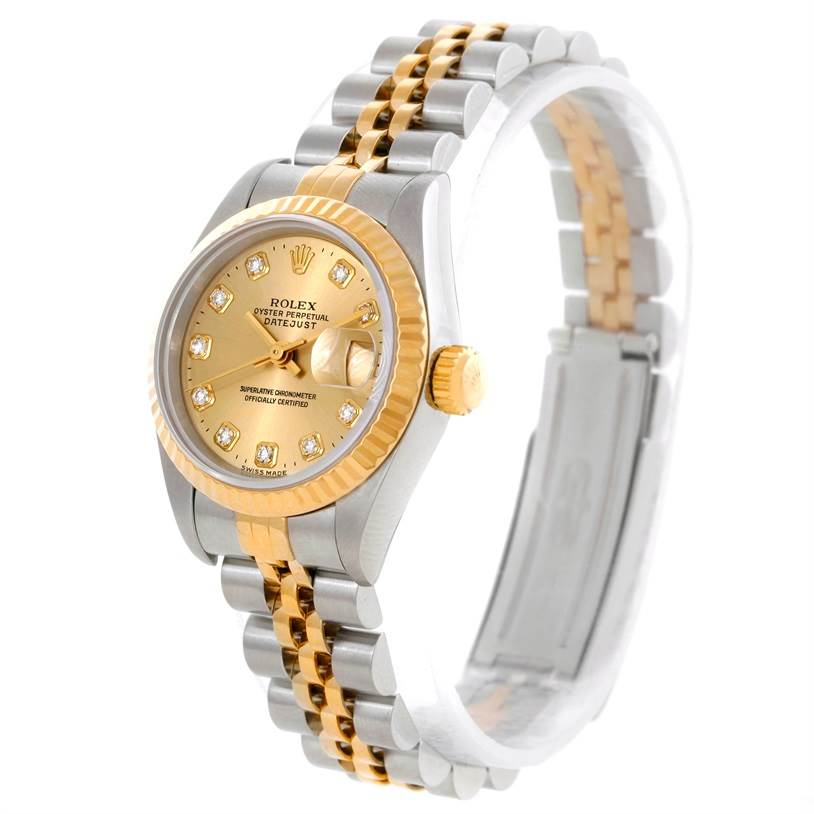 9059 Rolex Datejust Ladies Steel 18k Yellow Gold Diamond Watch 69173 SwissWatchExpo