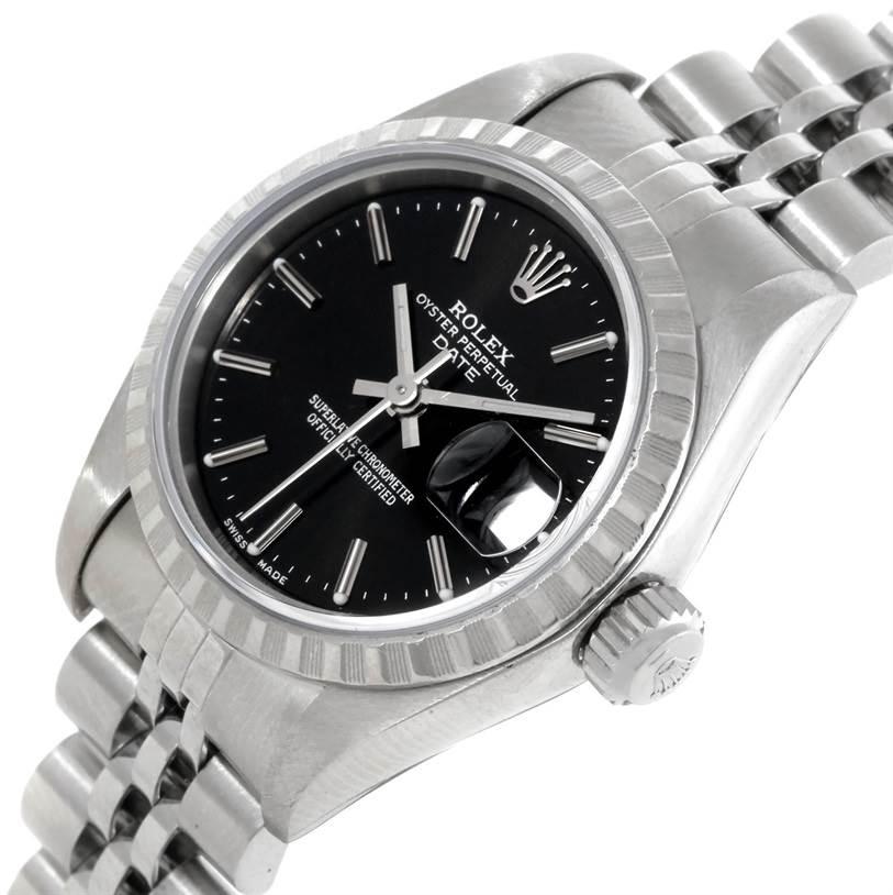 Rolex Date Ladies Black Dial Stainless Steel Watch 79240 SwissWatchExpo