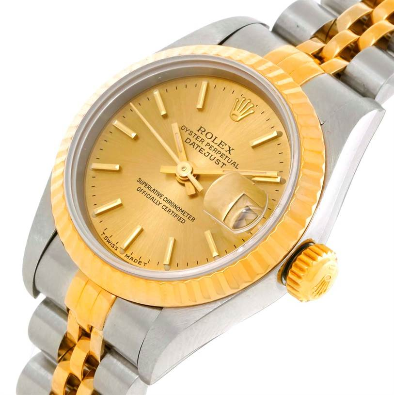 9689 Rolex Datejust Ladies Steel 18k Yellow Gold Watch 69173 SwissWatchExpo