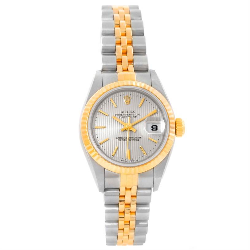 9885 Rolex Datejust Ladies Steel 18k Yellow Gold Tapestry Dial Watch 79173 SwissWatchExpo