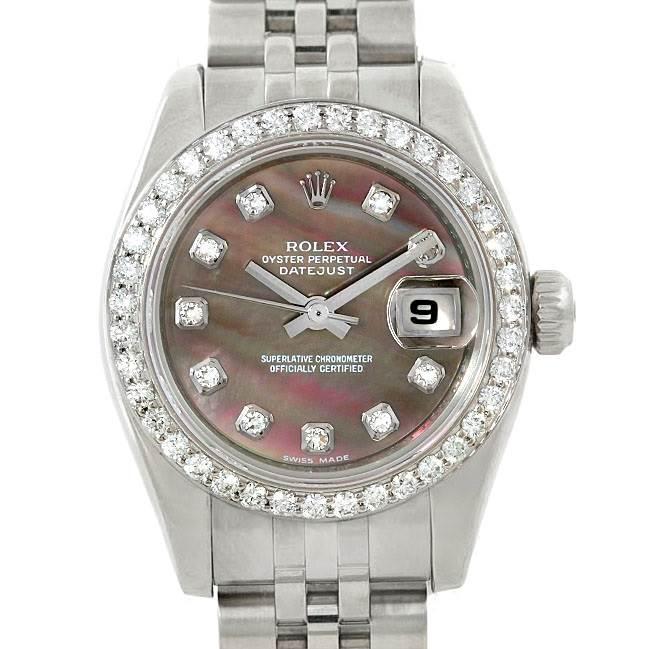 9415A Rolex Datejust Ladies Steel 18K White Gold Diamond Watch 179174 SwissWatchExpo