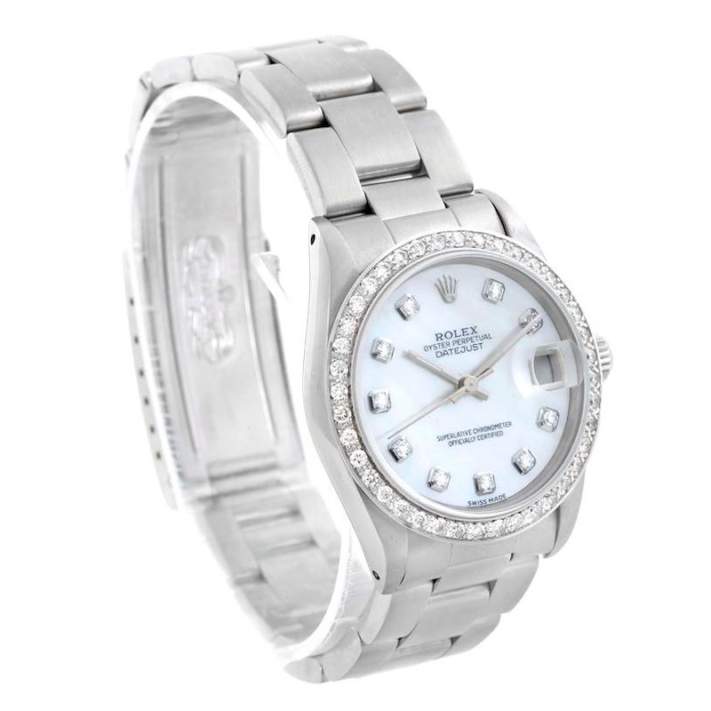 Rolex Midsize Datejust Steel Mother of Pearl Diamond Watch 68240 SwissWatchExpo