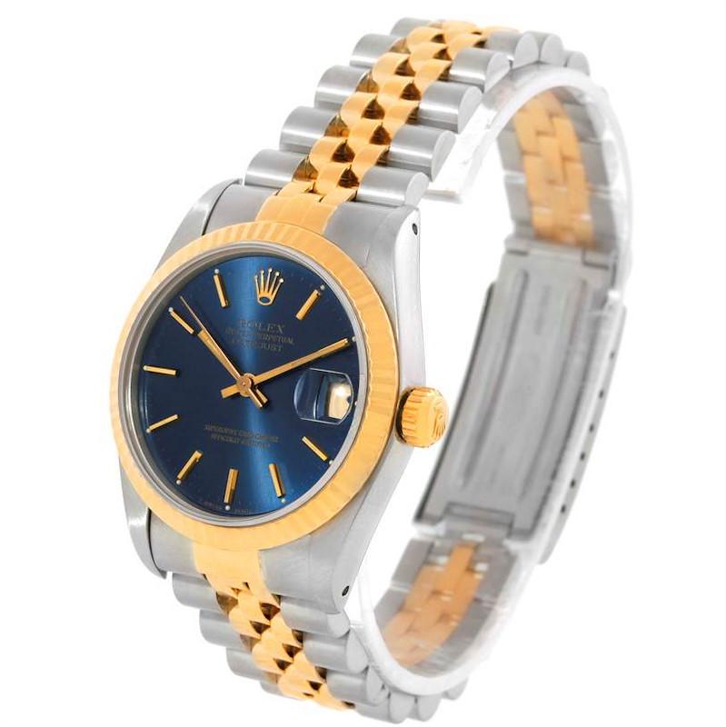 Rolex Datejust Midsize Steel Yellow Gold Blue Dial Watch 68273 SwissWatchExpo