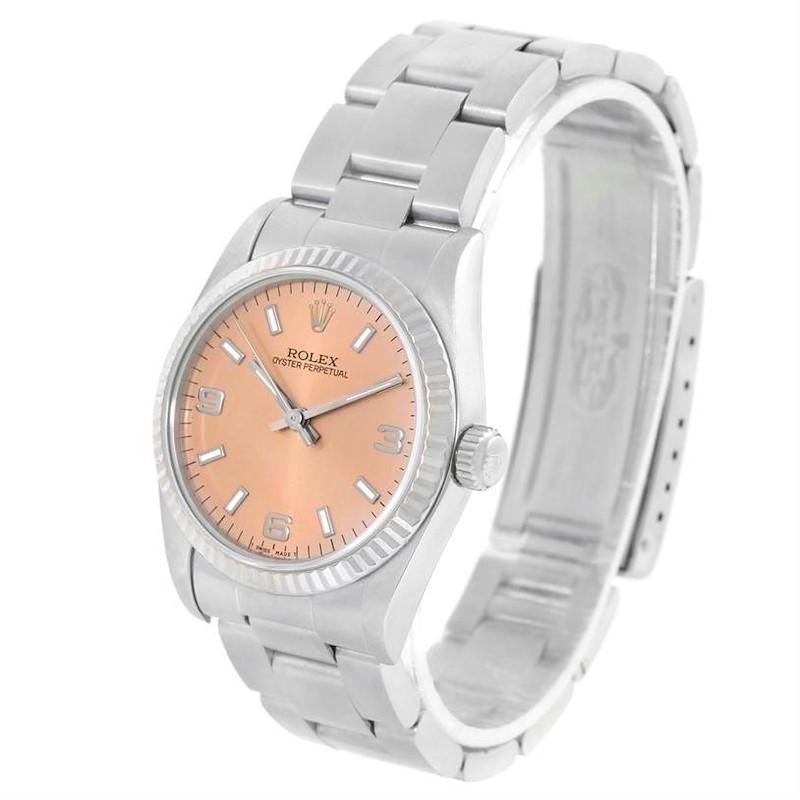 Rolex Midsize Steel 18K White Gold Salmon Dial Watch 67514 SwissWatchExpo